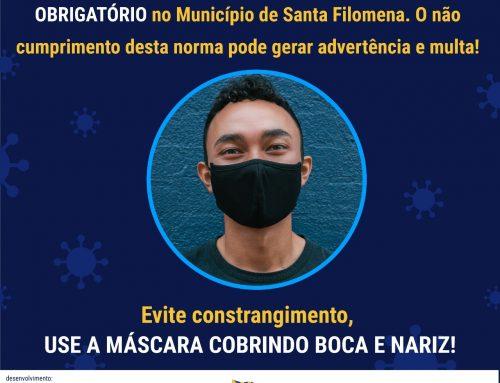 Uso de Máscara torna-se obrigatório no Município de Santa Filomena