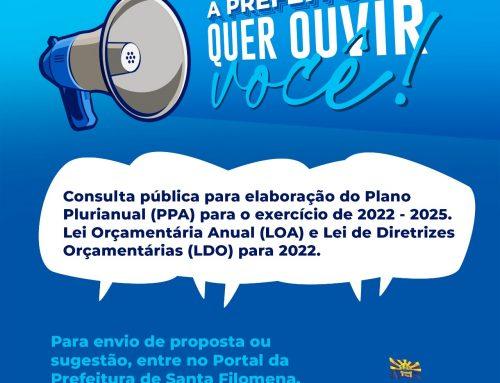 Prefeitura de Santa Filomena disponibiliza consulta pública para elaboração do Plano Plurianual (PPA) e das Leis Orçamentárias LOA e LDO