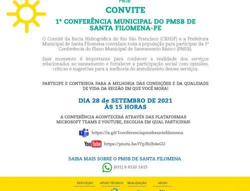 1ª CONFERÊNCIA DO PLANO MUNICIPAL DE SANEAMENTO BÁSICO DE SANTA FILOMENA!
